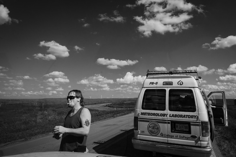 Jim on his one of many his cigarette breaks as we stopped by road construction in middle of nowhere Montana.