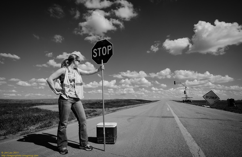 Amy took over road signalling while the lady went to bathroom.