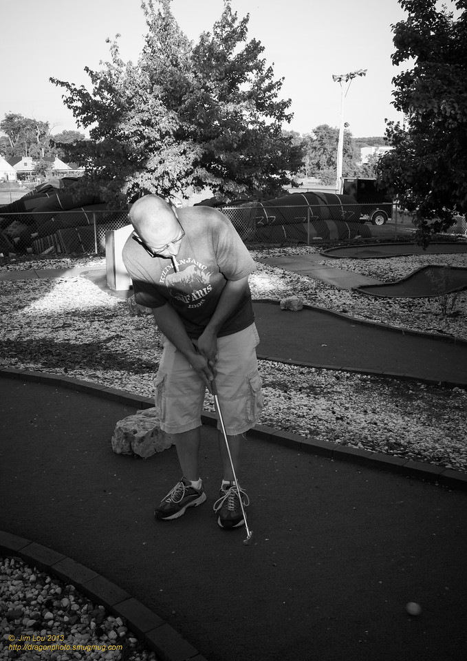 Little mini golf: Ryan(my roommate) demonstrating the proper form.