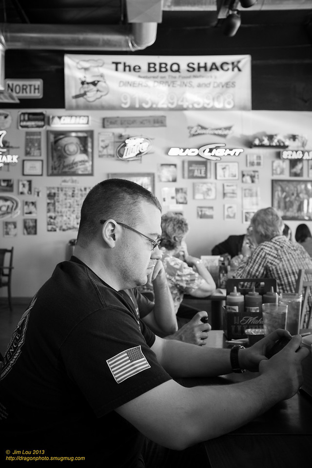 Dan #1 waiting for his food in BBQ Shack Paola KS.