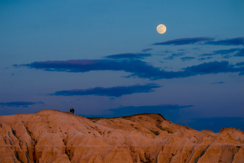 Full moon rise at Badlands.  I wanted howl like a wolf