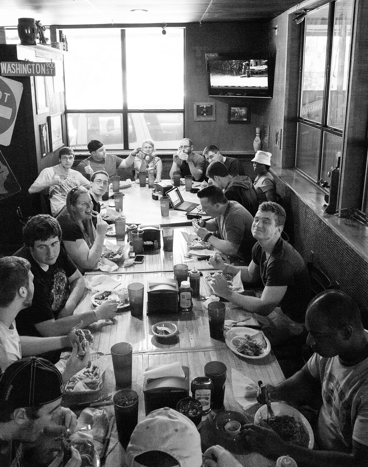Group lunch in Smokey Bros, in Seymour TX.  Damn good beef briskets(best I ever had).