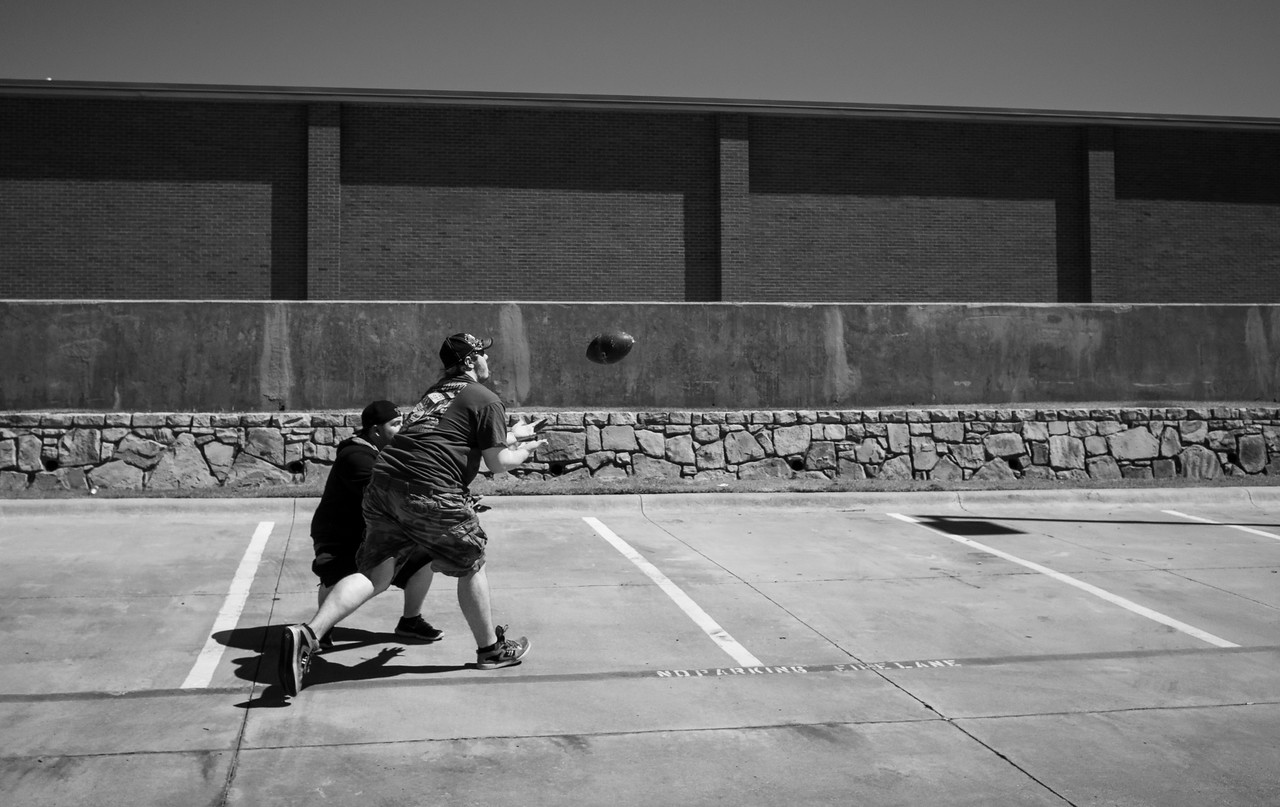 Day 3(5/17) Wichita Falls, TX<br />   A travel day.  Horsing around with a football.