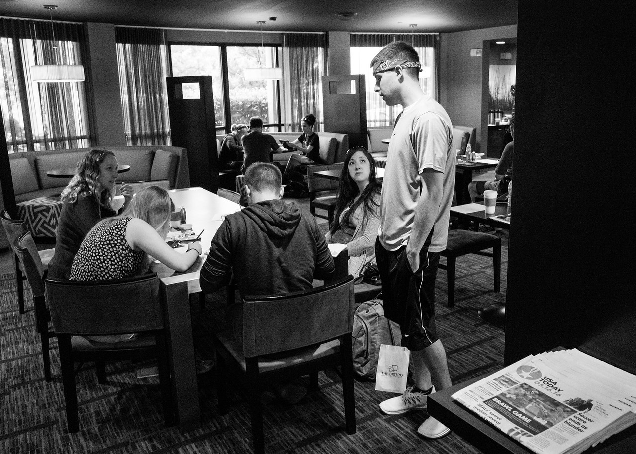 Day 4, 5/16: Amarillo TX -> Lubbock TX<br /> Another morning forecast session.   Matt got his bandanna on.  It means tornado  today!!<br /> Doug found a bed bug in our room.   Our luggages were quarantined in plastic bags for the day.