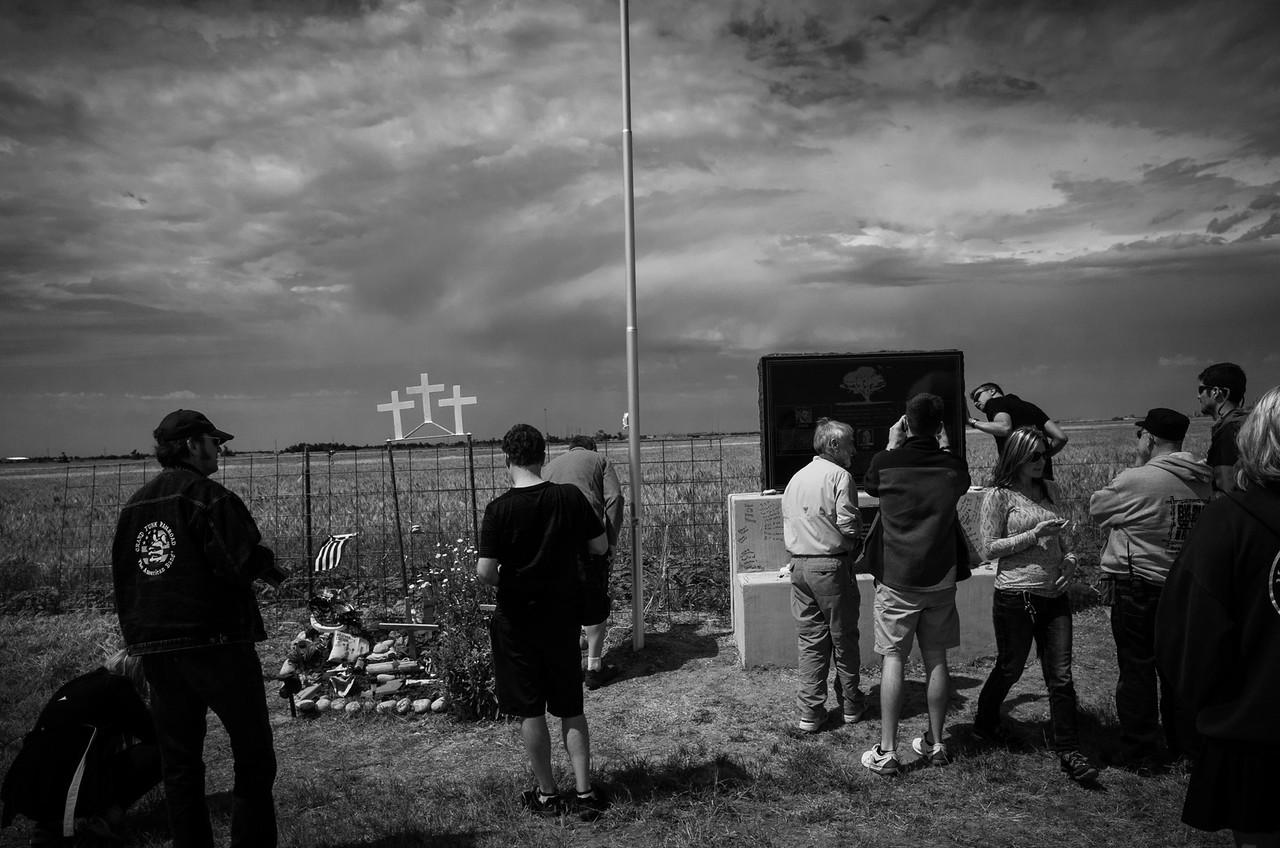 We visited memorial for Tim Samaras, Paul Samaras, and Carl Young, whom were killed in the 2013 El Reno tornado.