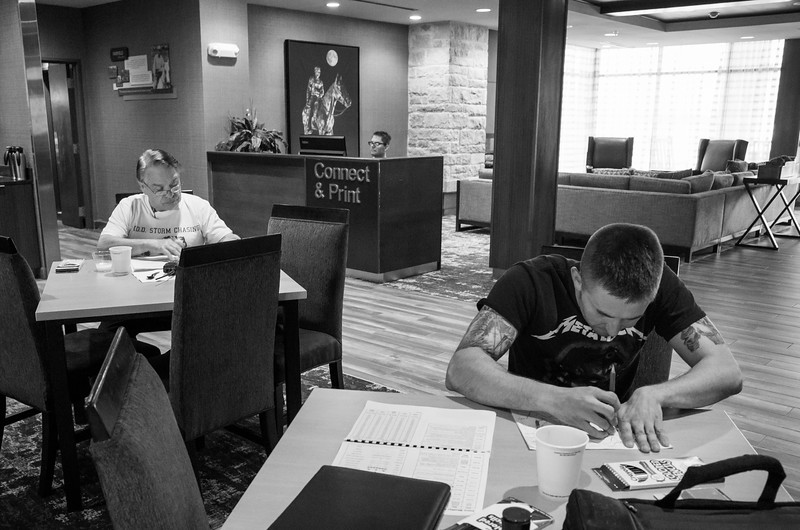 Day 5 5/21:  Lubbock, TX -> Santa Fe, NM<br /> Mike, and Kyle working on the maps already.    Dave looking at the models.