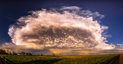 Mammatus Clouds at the back of the Supercell Thunderstorm