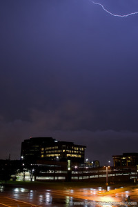 We're now heading back up to Allen after an unsucessful try and shooting downtown.  This is from the parking garage of my old work building, looking South.  We were still a bit too close to the intense storms to the south, and most of the lightning was in the clouds.