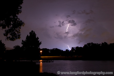 One last parting bolt.  The storm moved too far to the south for us to see much after this.