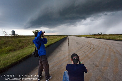 """We met up with Ben Jacobi in Wichita.  Here, he and Zack work at being """"Storm Chasers"""". ;-)"""