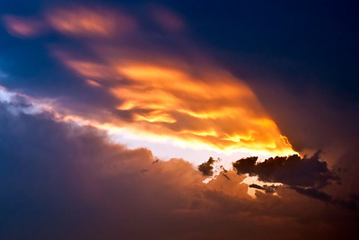 The setting sun illuminates the anvil cloud of a severe thunderstorm to our south west.