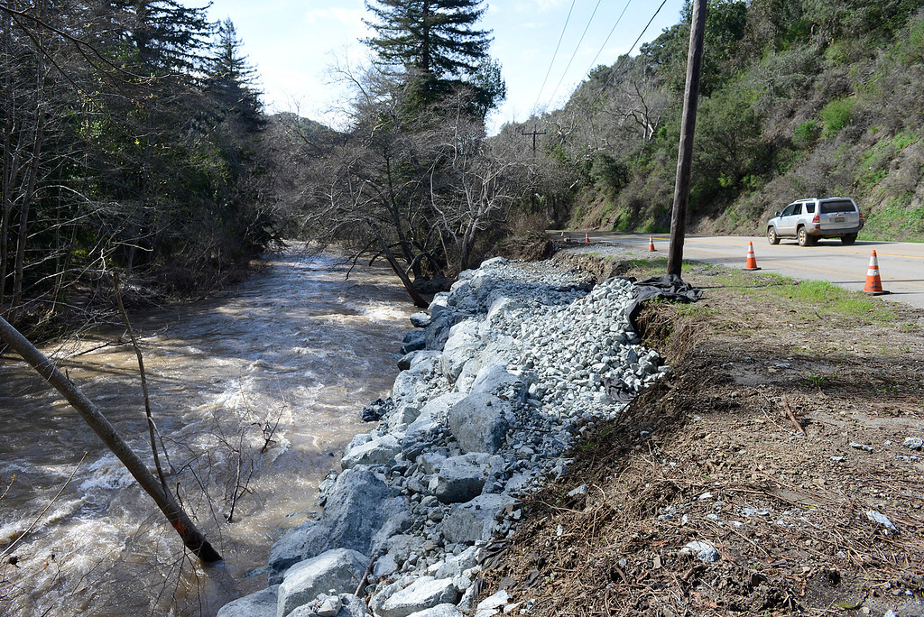 . Rocks buffer up against the bank of the Big Sur River where storm damage ripped toward Highway 1 in Big Sur on Wednesday February 22, 2017. (David Royal - Monterey Herald)