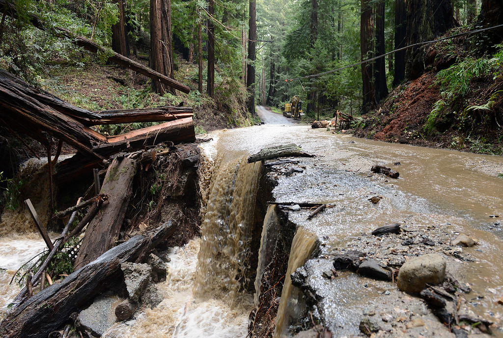 . Storm runnoff eats under Palo Colorado Road in Palo Colorado Canyon on the Big Sur Coast on Wednesday February 22, 2017. (David Royal - Monterey Herald)