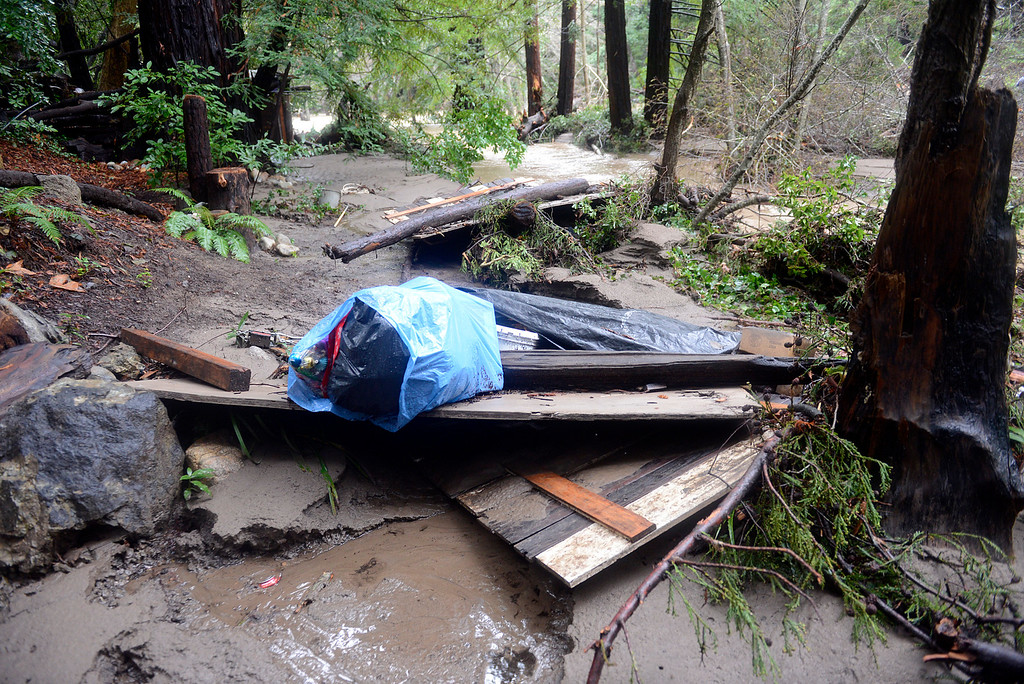. Debris pushed by the Big Sur River are scattered in trees near St. Francis Church in Big Sur on Monday January 9, 2017 after a large storm passed through Monterey County. (David Royal - Monterey Herald)