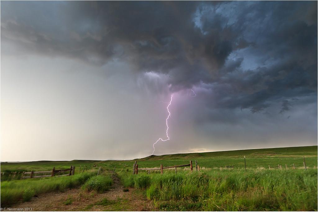 Cloud-to-ground lightning near Sheridan, WY, June 2011