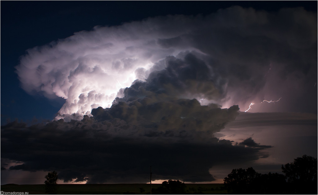 Supercell at night, North Dakota, June 2010