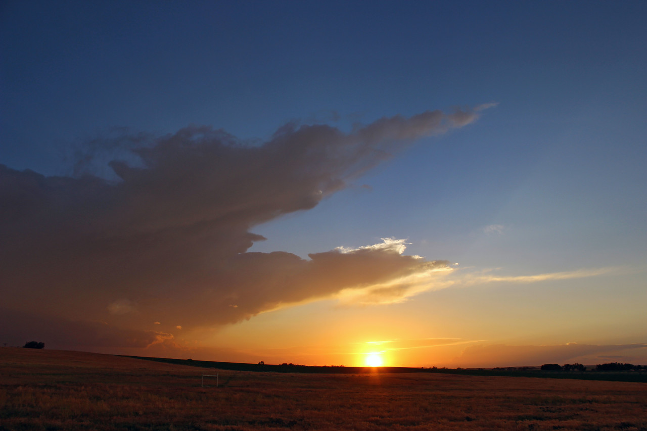 Distant Anvil at Sunset