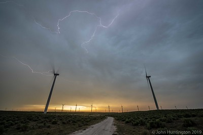 A severe-warned thunderstorm in a wind farm near Fort Supply, Oklahoma June 12, 2018