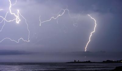 Lightning over Point Judith in Narragansett