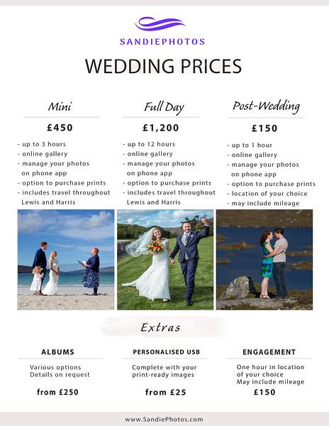 Wedding pricelist July 2021