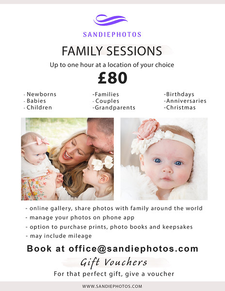 family sessions pricelist July 2021