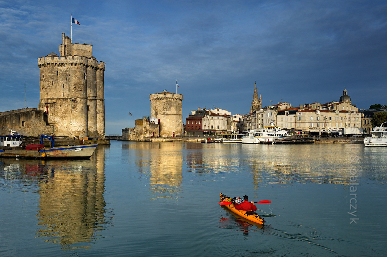 [FRANCE. ATLANTIC 30068] 'Kayaking in Old Harbour of La Rochelle.'
