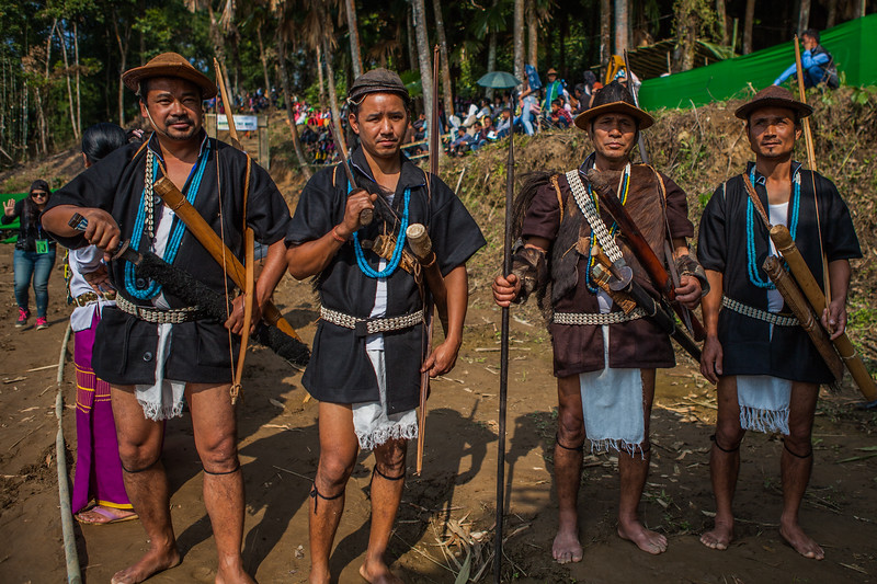 Warriors of Basar with the arms, Arunachal Pradesh, India