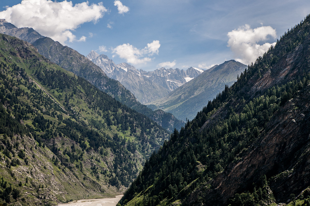 Peaks of the Himalayas visible on the way to Gangotri in Uttarakhand