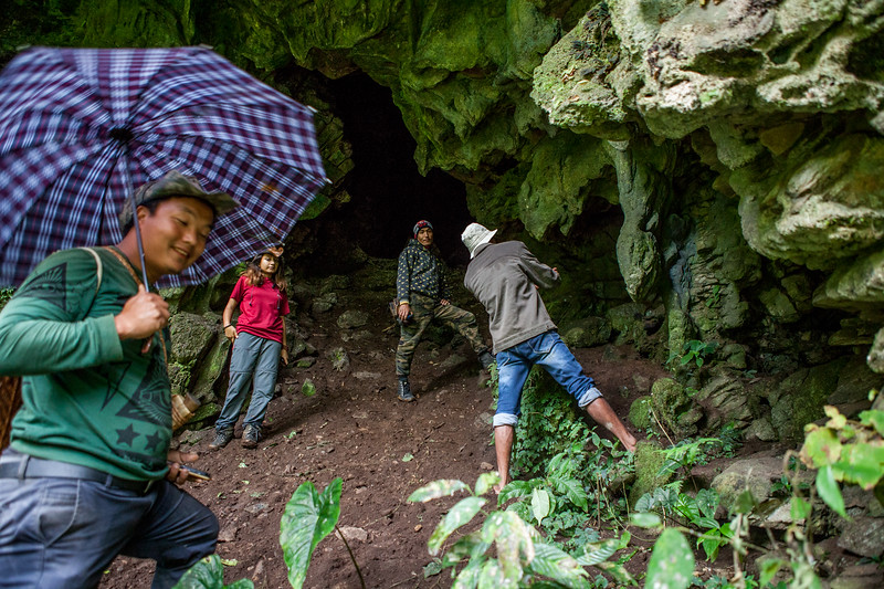 At the entrance of the Bat Cave in Basar, Arunachal Pradesh, India