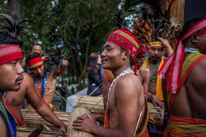 Performers Kachari tribe wait their turn at the Hornbill Festival, Nagaland, India