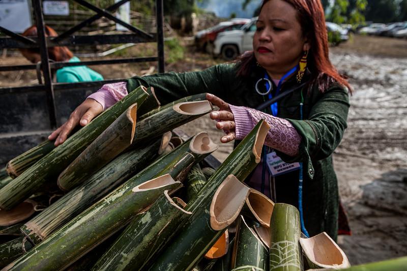 The bamboo mugs for serving Poka at BasCon, Basar, Arunachal Pradesh, India