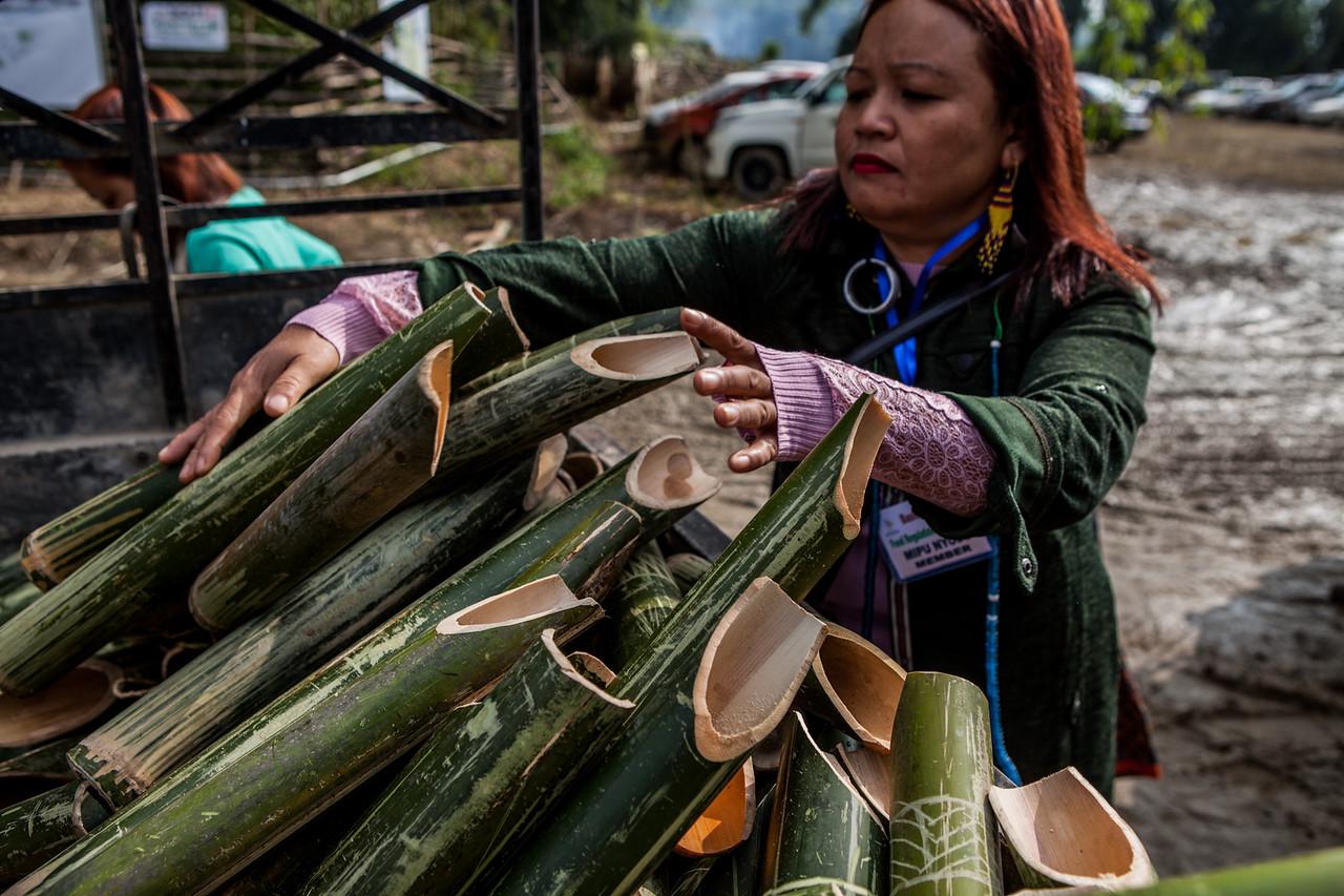 Ecofriendly reusable bamboo mugs at BasCon, Basar, Arunachal Pradesh, India