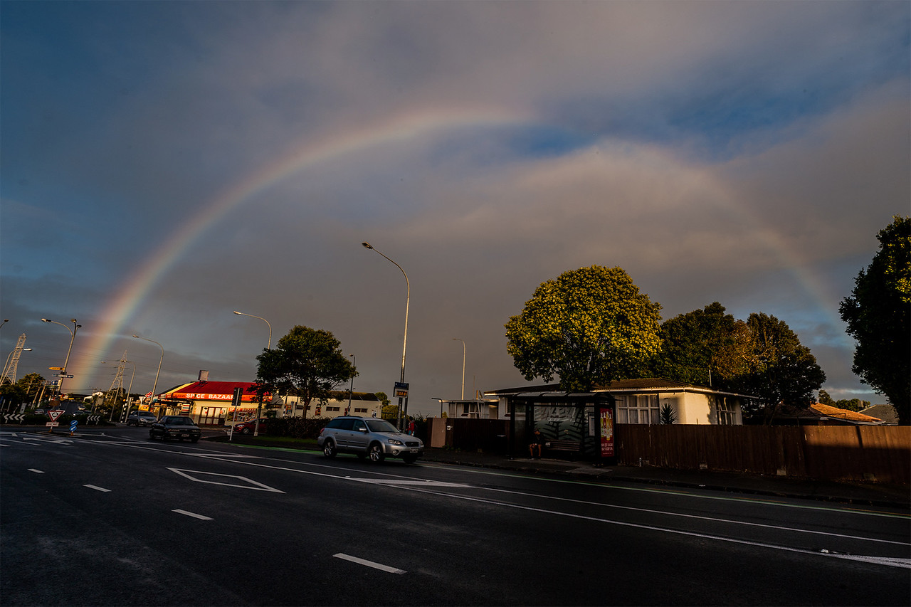 Early morning rainbow over Auckland, New Zealand