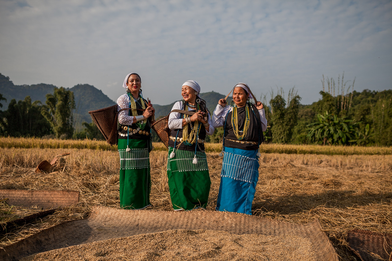 Galo ladies working in the field, Basar, Arunachal Pradesh, India