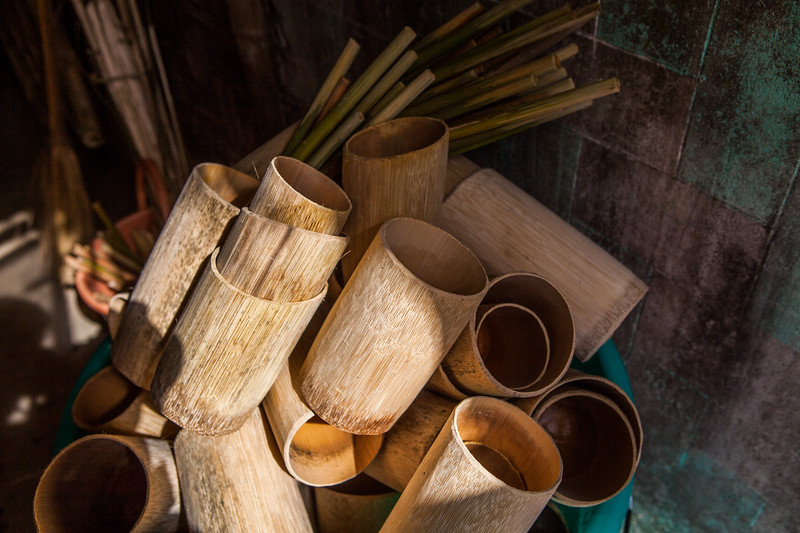 Bamboo mugs in which all the tribes serve their rice beer at the Hornbill festival in Nagaland, India