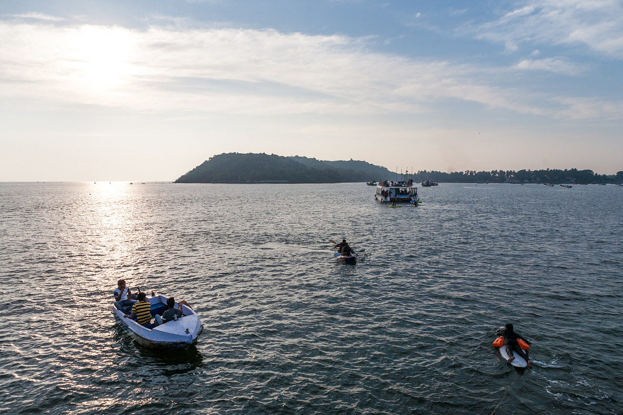 Water activities near the Miramar beach in Goa