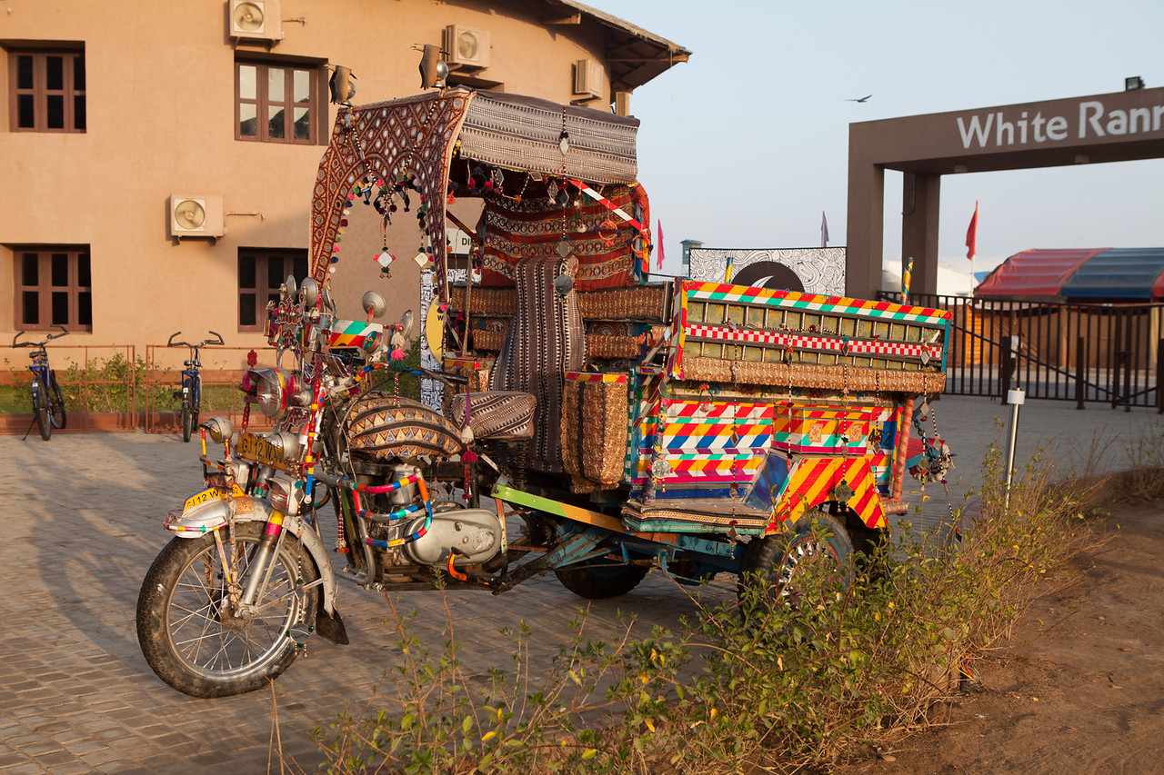 """A """"chakda"""" used as a mode of transport in rural Gujarat on display at the White Rann Resort, Kutch"""