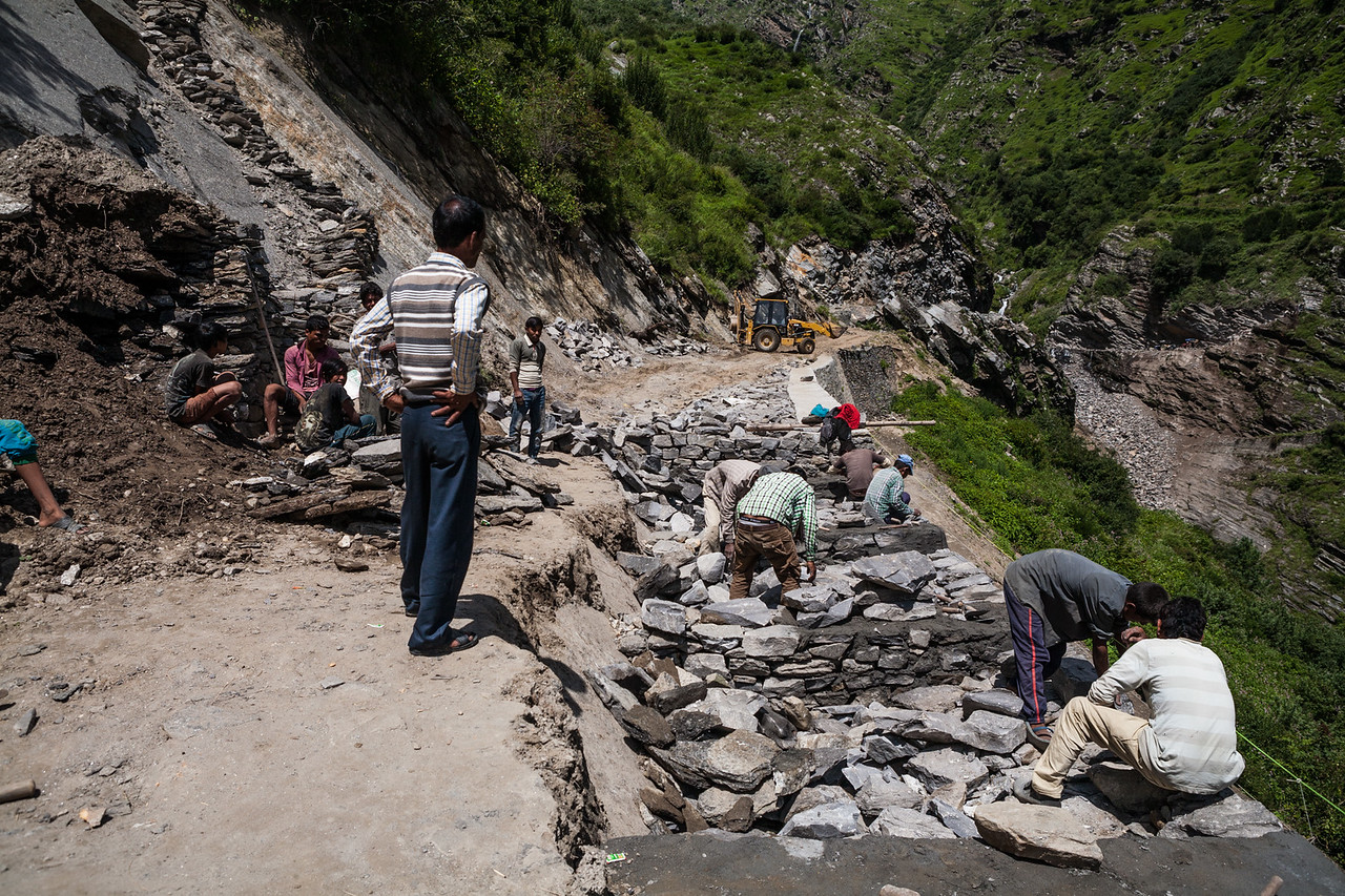 A mountain road being constructed in the Garhwal Himalayas of Uttarakhand