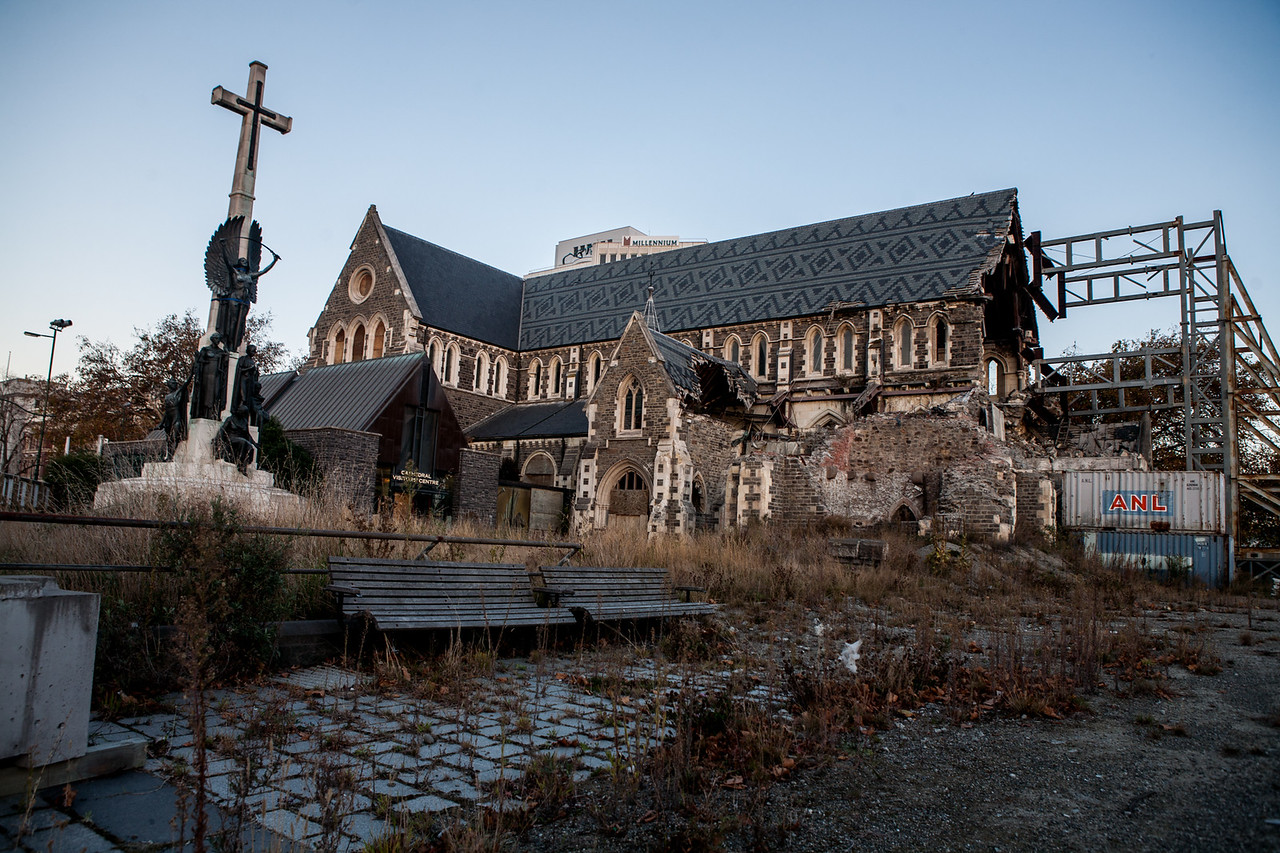 Backside of the dilapidated cathedral, Christchurch, New Zealand