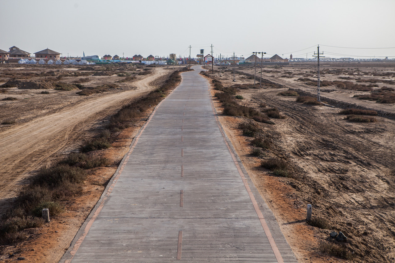 Road from the White Rann of Kutch to the resort in Gujarat, India