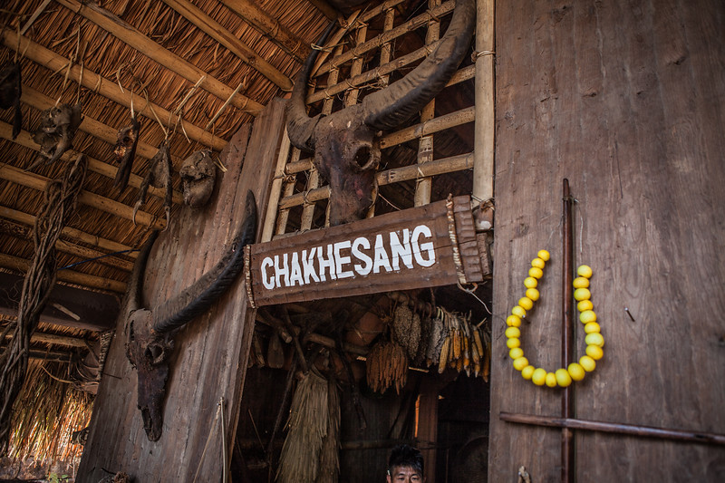 Entrance to the morung of the Chakesang tribe at the Hornbill festival in Nagaland, India