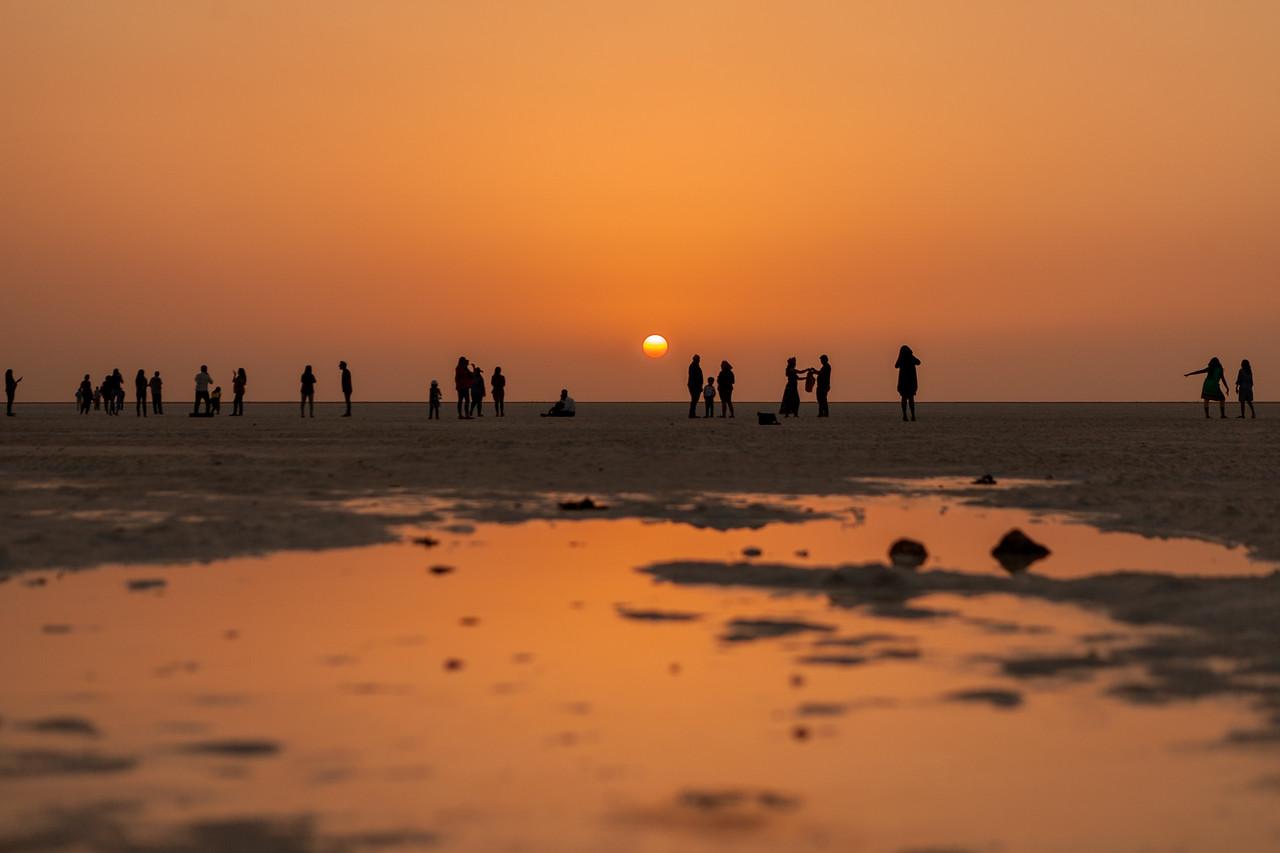 Sunset at the White Rann of Kutch, Gujarat, India