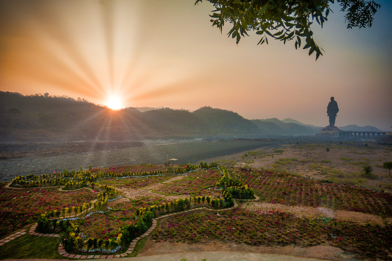 Valley of Flowers and the Statue of Unity, Kevadia, Gujarat, India