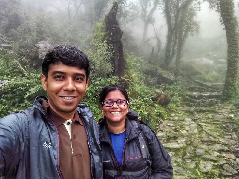 Sandeepa and Chetan on the trek to Dayara Bugyal, a high altitude meadow in Uttarakhand