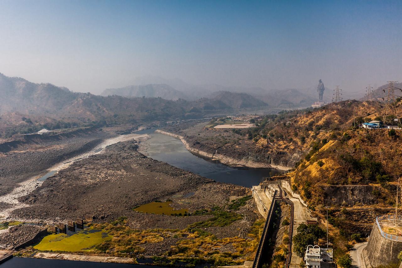 A view from Sardar Sarovar dam, Kevadia, Gujarat, India