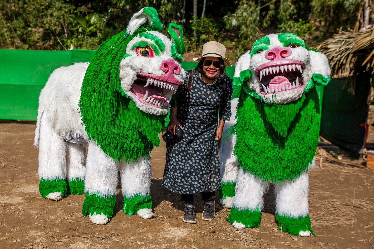 Performers of the Snow lion dance from Tawang who performed at Basar Confluence, BasCon, Basar, Arunachal Pradesh, India