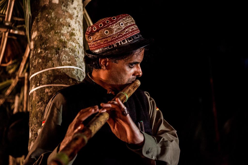 Dara Okat playing the flute at the Artist Cornet at Basar Confluence, BasCon, Basar, Arunachal Pradesh, India