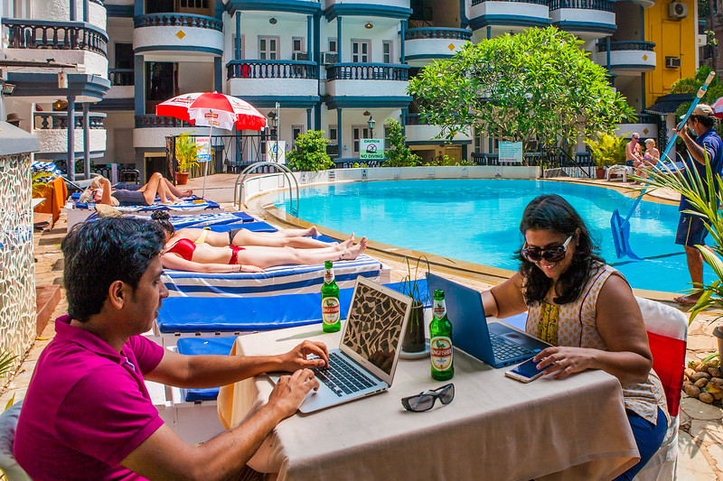 Catching up on work at the Treebo Santiago Resort in Goa