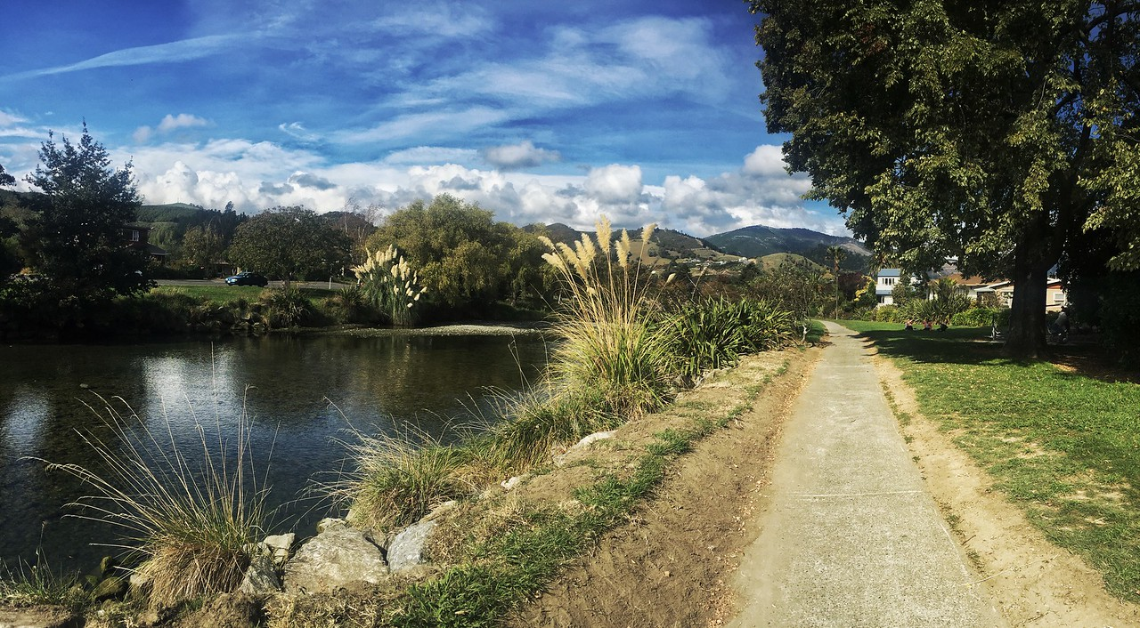 The garden walk by the stream in Nelson, New Zealand