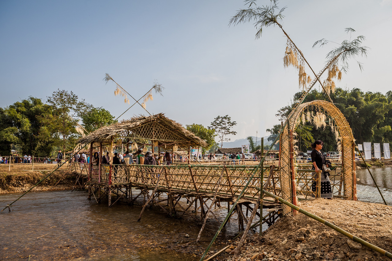Bamboo bridge at BasCon, Basar, Arunachal Pradesh, India